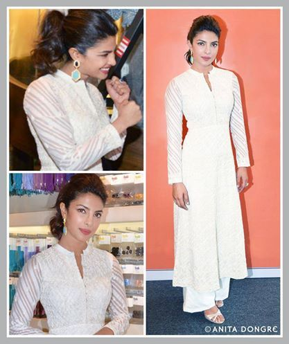 Priyanka Chopra in an Anita Dongre hand embroidered Kurta and Palazzo from the Varanasi Weaves collection.