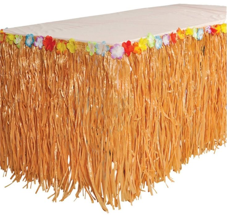 """Amazon.com: RINCO Luau Natural Color Grass Table Skirt Decoration with Tropical Flowers, 9' x 29"""": Toys & Games"""
