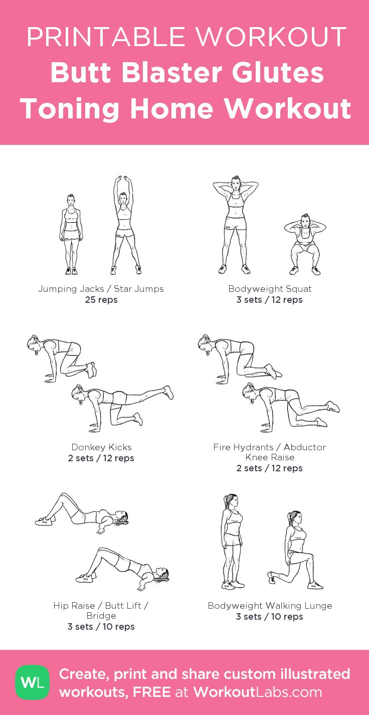 Butt Blaster Glutes Toning Home Workout –my custom workout created at WorkoutLabs.com • Click through to download as printable PDF! #customworkout