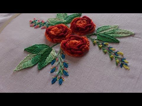 Hand embroidery designs. Chain and bullion stitch roses. Brazilian embroidery. - YouTube