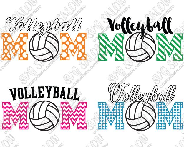 Layered Volleyball Mom Cutting File Set in SVG EPS DXF JPEG and PNG
