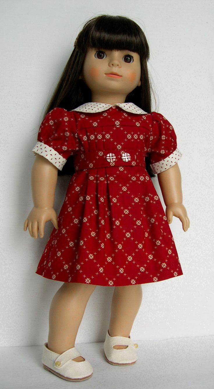 "18 inch Doll Clothes Handmade outfit made to fit American Girl AG and similar size dolls My Gotz doll Tess is modeling a dress made using Simplicity 18"" doll sewing pattern 1443 ( made by Barb Marlee )"