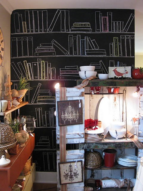 4 chalkboard drawings on this wall - fun! By Inspired by Charm