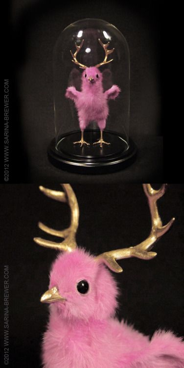 """Recently featured in Dirge Magazine http://www.dirgemag.com/taxidermy-sarina-brewer/  """"STAG PARTY"""" ©2012 www.Sarina- Brewer.com Sculpture by artist Sarina Brewer, taxidermy art movement co-founder & pioneer. See the work that was the catalyst for the movement at https://www.facebook.com/Rogue.Taxidermy.Art/ Sculptural concept copyrighted and protected under registration number VA-1-969-682. Derivative works prohibited by law. #Rogue #Taxidermy #Art #Dyed #Pink #Peep #Chick #Antlers"""
