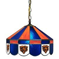 Chicago Bears 16-IN. Stained Glass Pub Light: There is no better way to properly light your game room or… #Sport #Football #Rugby #IceHockey