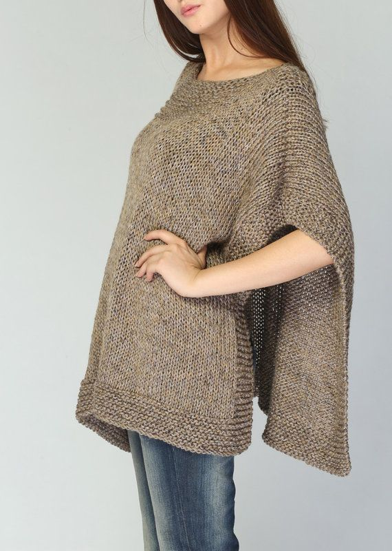 Poncho tejido a mano / capelet eco algodón poncho en por MaxMelody