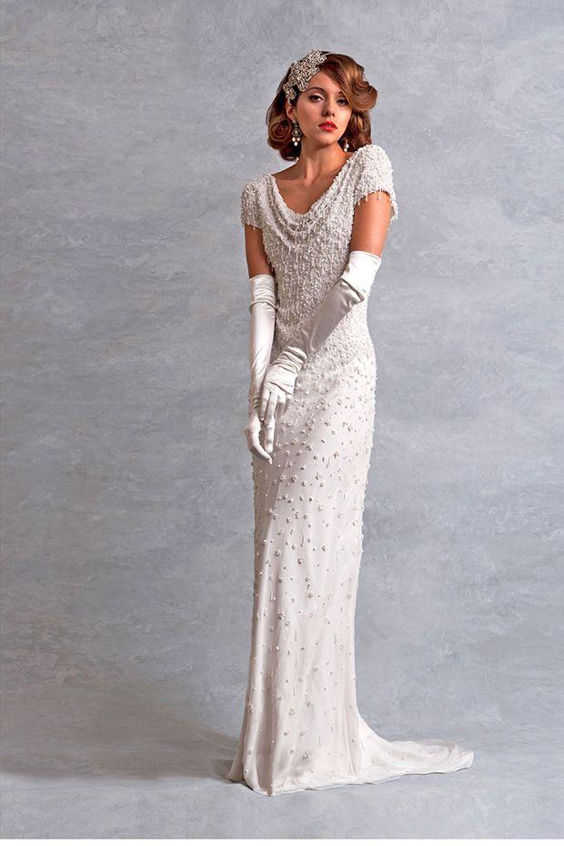 Eliza Jane Howell Gatsby Style wedding Dress - amazing beading and long gloves make this super glam!