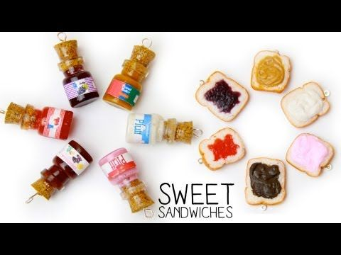 Peanut Butter & Jelly and Marshmallow Fluff & Nutella Sandwiches Tutorial for Fimo or Polymer Clay