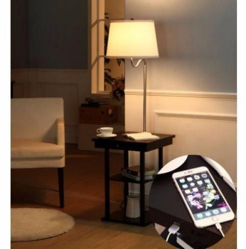 Superior End Table With Lamp Attached 2 USB Ports 2 Shelves Nignt Stand Side Sofa  Storage #