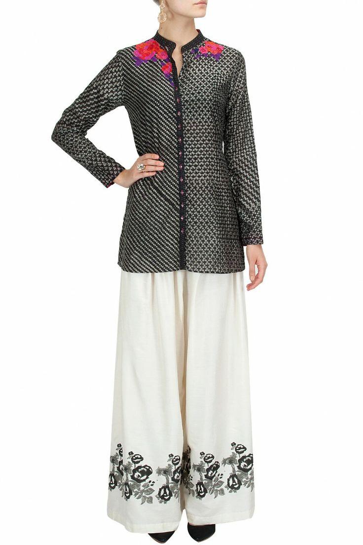 Grey block printed short tunic and ecru palazzos BY KRISHNA MEHTA.