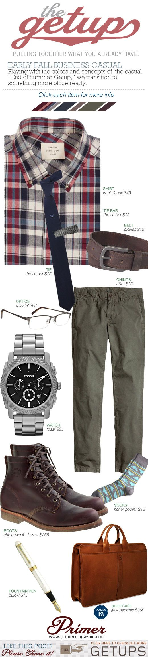 """The Getup: Early Fall Business Casual   'Playing with the colors and concepts of the casual """"End of Summer Getup,"""" we transition to something more office ready.'"""