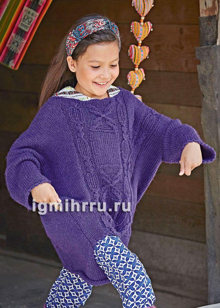 для девочки 5 9 лет фиолетовый теплый пуловер с косами вязание