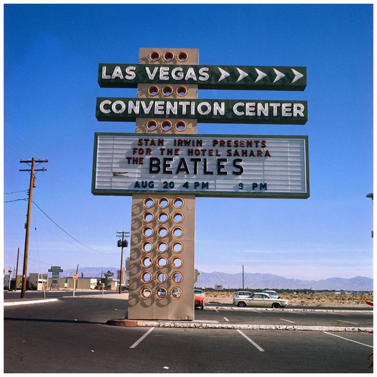 A show you wouldn't want to miss! The Beatles concert sign at the Las Vegas Convention Center, 1964.