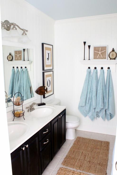 Coastal style bath; love the blue ceiling: Kids Bathroom, Towels Hooks, Color, Black Cabinets, Coastal Bathroom, Blue Ceilings, Towels Racks, Bathroom Ideas, White Wall