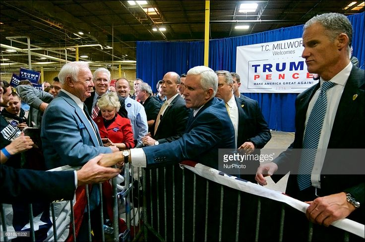 Voters are greeted by Mike Pence, Vice-presidential candidate for the Republican Party, during a campaign stop in the Philadelphia Suburbs, in Bensalem, PA, on October, 28, 2016.
