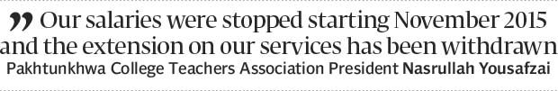 Wanting permanency: Ad hoc teachers continue protest for third day - The Express Tribune