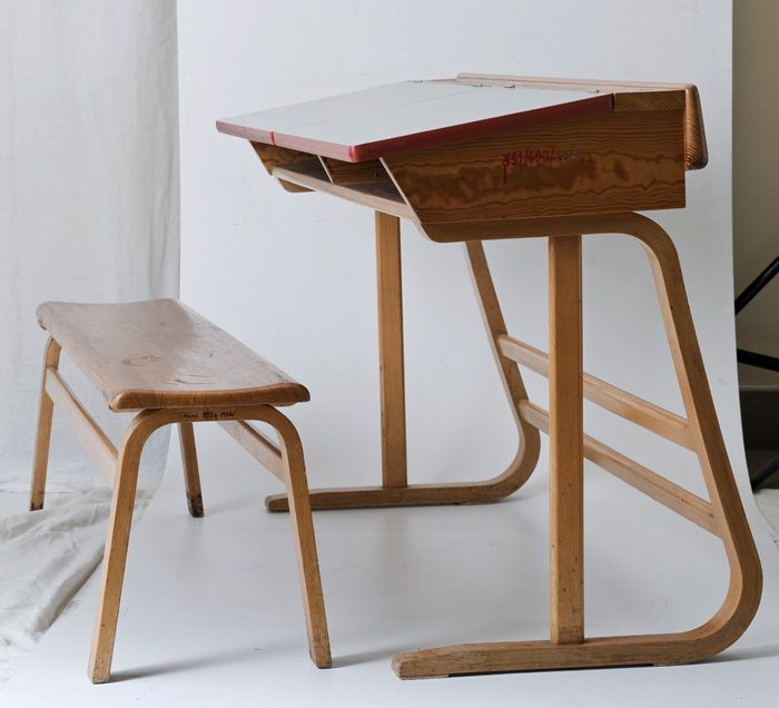 Maria Chomentowska, school tables and chairs for younger children, made by the Furniture Wing of the Industrial Design Institute in Warsaw, ...