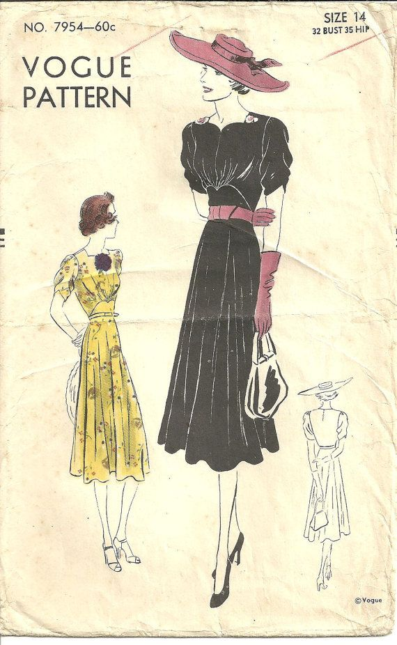 1930s Vogue Dress Pattern