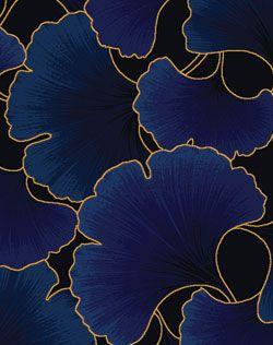 Tissu en noir et bleu, décoré de feuilles de gingko.