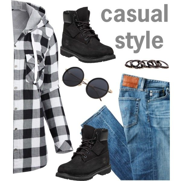 Untitled #2035 by ruru833 on Polyvore featuring moda, Columbia, AG Adriano Goldschmied, Timberland and Free Press