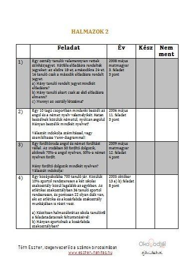 Érettségi feladatok témakörök szerint- halmazok 2 (folytatás)