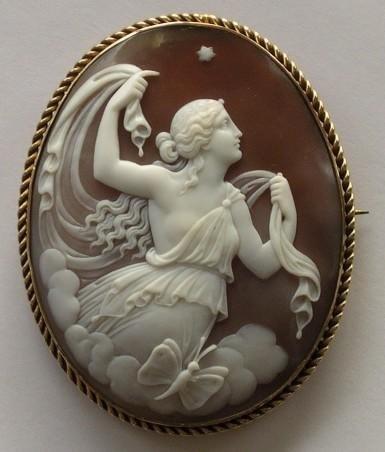 Victorian hand-carved shell cameo.  The-Antique-Shop.com