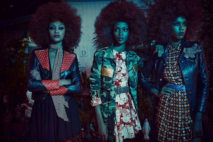 Riley Montana, Cheyenne Carty and Leila Nda by Francesco Carrozzini for Vogue Italia March 2015. Fashion editor: Enrica Ponzellini Hair stylist: Brent Lawler Makeup artist: Kabuki
