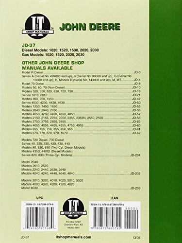 John Deere Shop Manual 1020 1520 1530 2020+ (I&T Shop Service)