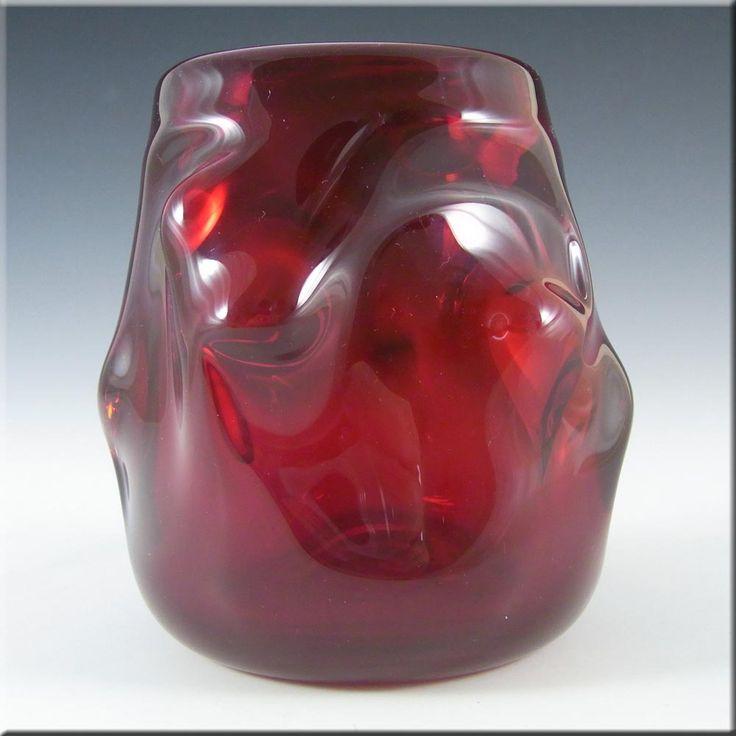 Whitefriars Wilson/Dyer Ruby Red Glass Knobbly Vase #9608 - £30.00