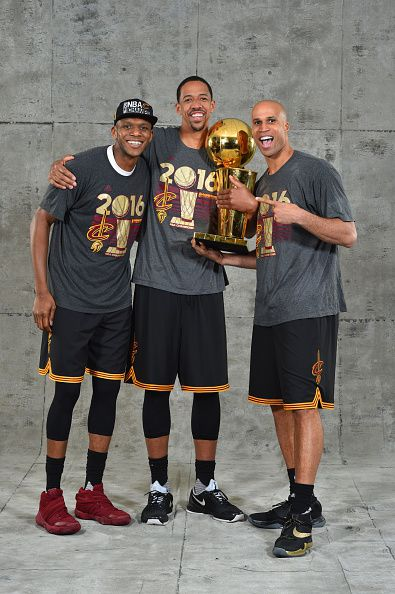 James Jones Channing Frye and Richard Jefferson of the Cleveland Cavaliers poses for a portrait after winning the NBA Championship against the Golden...