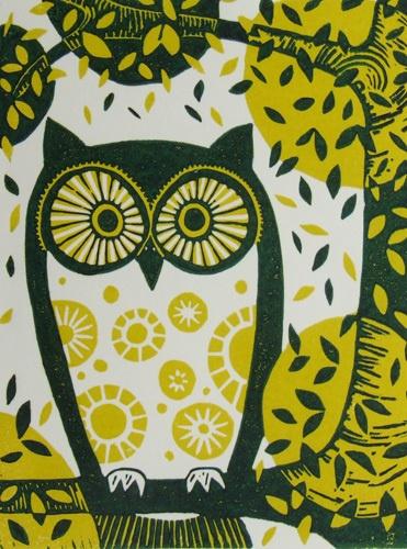 'Owl' by Fiona Humphrey (linocut)