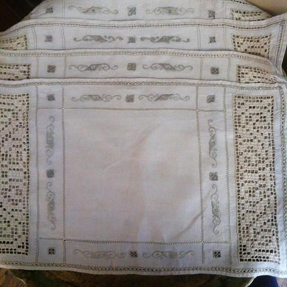 Set of 5 Beautiful Detailed Beige Linen Placemats with Embroidery Crochet Work and Pulled Thread Detail 16 X 9