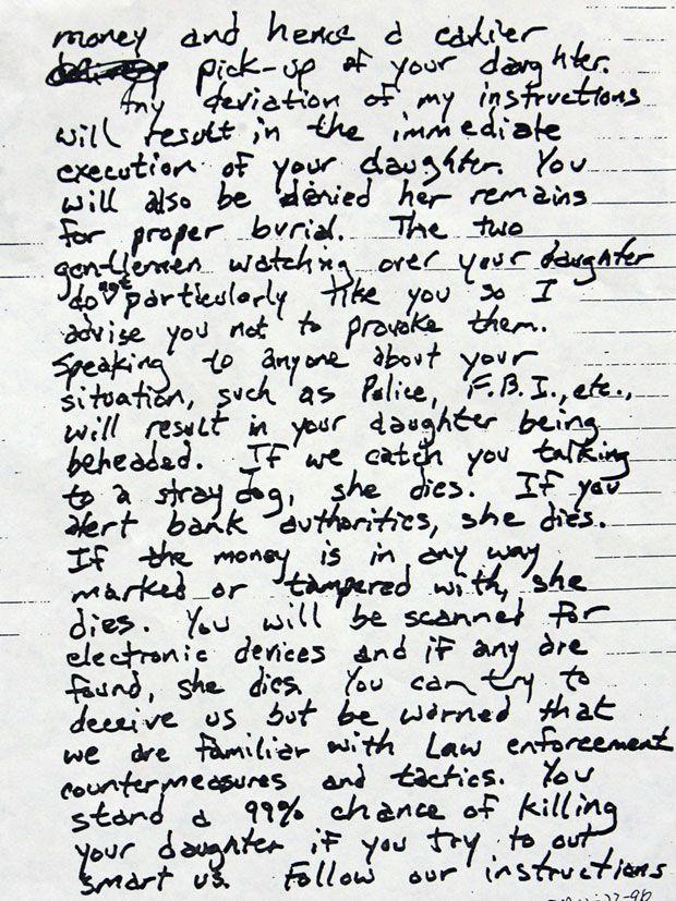 JonBenet Ramsey ransom note (page 2 of 3)
