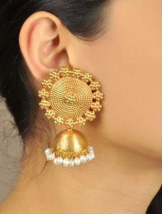 Floral Temple Golden Jhumka Earrings https://www.jaypore.com/web_story.php?eventId=262