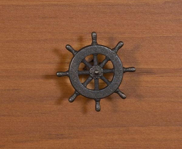nautical cabinet knob captain's wheel in black steel 3D printed