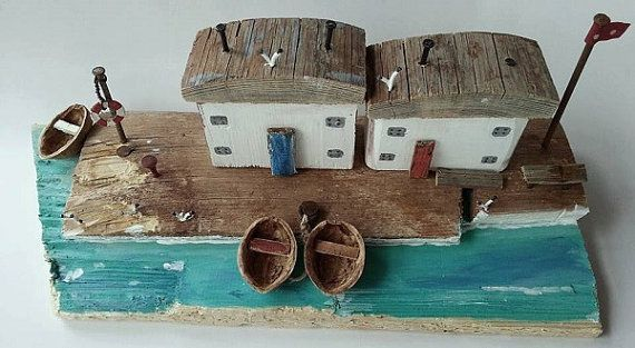 Antiguas casas de pescadores, casa de madera flotante, costera, escena de puerto de miniatura