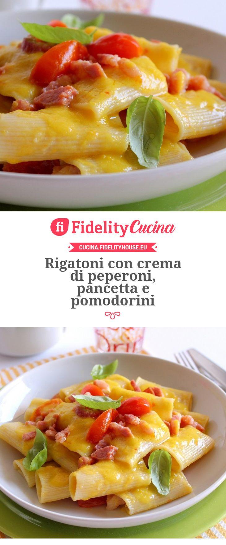 Rigatoni con crema di peperoni, pancetta e pomodorini