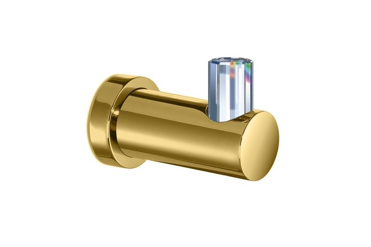 Concept Round Brass Robe Hook W/ Swarovski - Chrome/ Gold