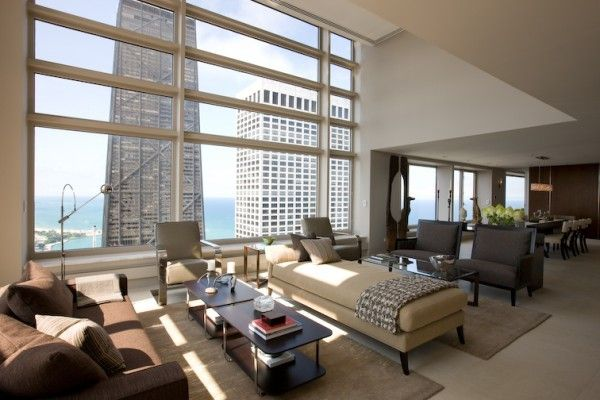 Contemporary Penthouse Apartment In Chicago With Custom Furniture And A Neutral Color Palette