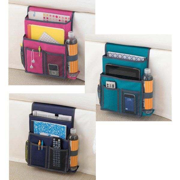 Whoever came up with this is a genuis! I need one for each side of our bed! (One for him to keep his remotes in. And one for my books, magazines, & journals...) Gearbox Bedside Caddy - Bed Bath & Beyond