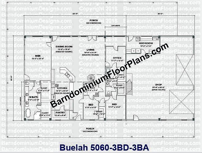 Beaulah Plan 50′ x 60′ - 3 bedroom - 3 bathroom Plus Loft ...