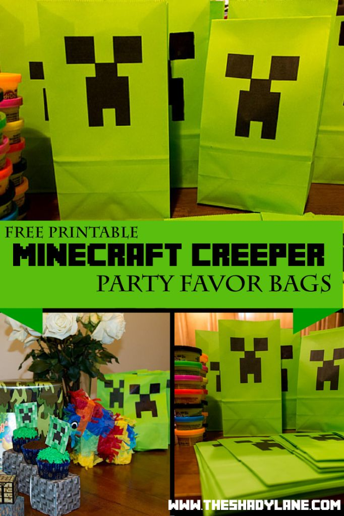 Free Printable Minecraft Creeper Favor Bags! Print these at home for a Minecraft themed loot bag or part decoration!