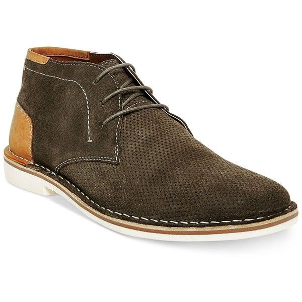 Steve Madden Men's Hendric Suede Chukka Boots ($90) ❤ liked on Polyvore featuring men's fashion, men's shoes, men's boots, olive suede, mens shoes chukka boots, mens suede shoes, mens suede boots, mens chukka boots and mens chukka shoes