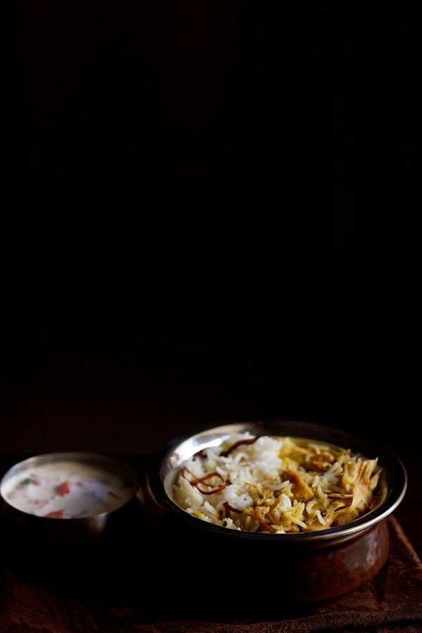 kathal biryani or jackfruit biryani recipe. mildly spiced dum cooked biryani made with raw unripe jackfruit, also called as kathal in hindi. biryani recipes.