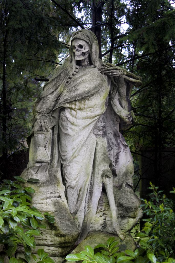 The Grim Reaper, sculptor August Schmiemann; tomb for the merchant Johann Muellemeister in Melaten Cemetery, Cologne, Germany. The scythe he carried on the right was apparently stolen. #sculpture #monument