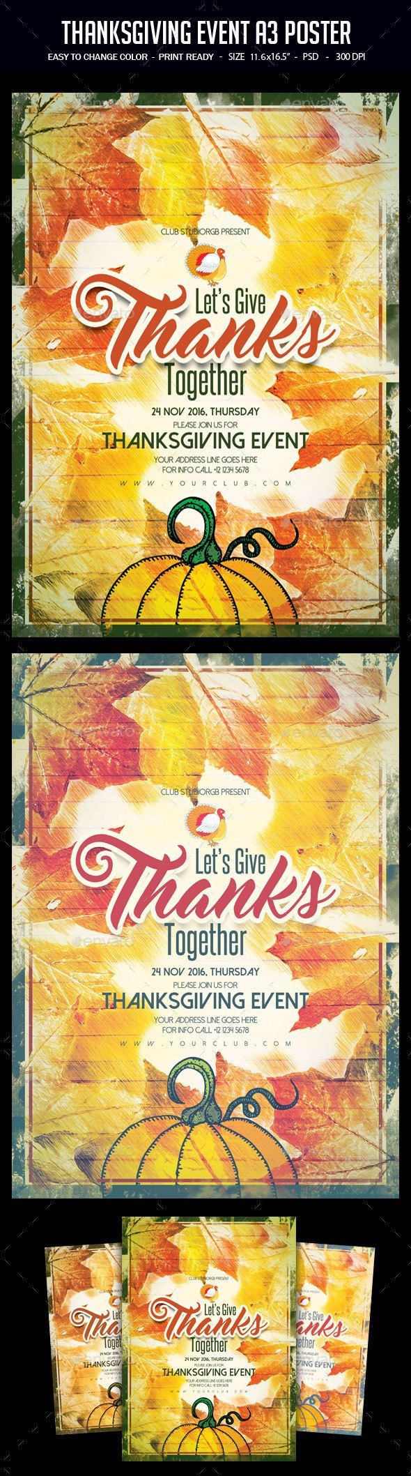 Thanksgiving Event A3 Poster Template PSD