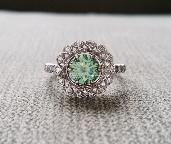 "Halo Blue Green Moissanite Diamond Ballerina Antique Engagement Ring Gemstone Flower Filigree Mint Aqua Round 14K White Gold ""The Mae"""