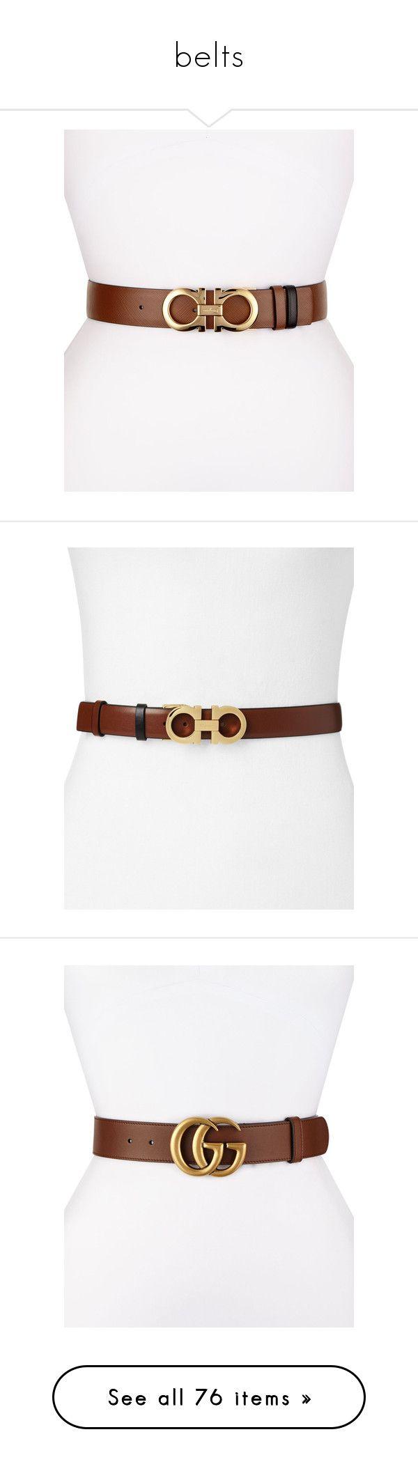 """""""belts"""" by evenaka on Polyvore featuring accessories, belts, salvatore ferragamo belt, salvatore ferragamo, hook belt, golden belt, reversible belt, ecorce brown, brown belt and black"""