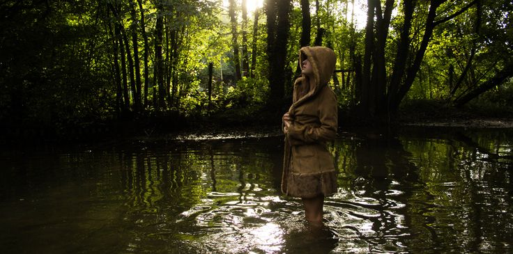 #water #fashion #photography #coat #fur #model #river #forest #reflection