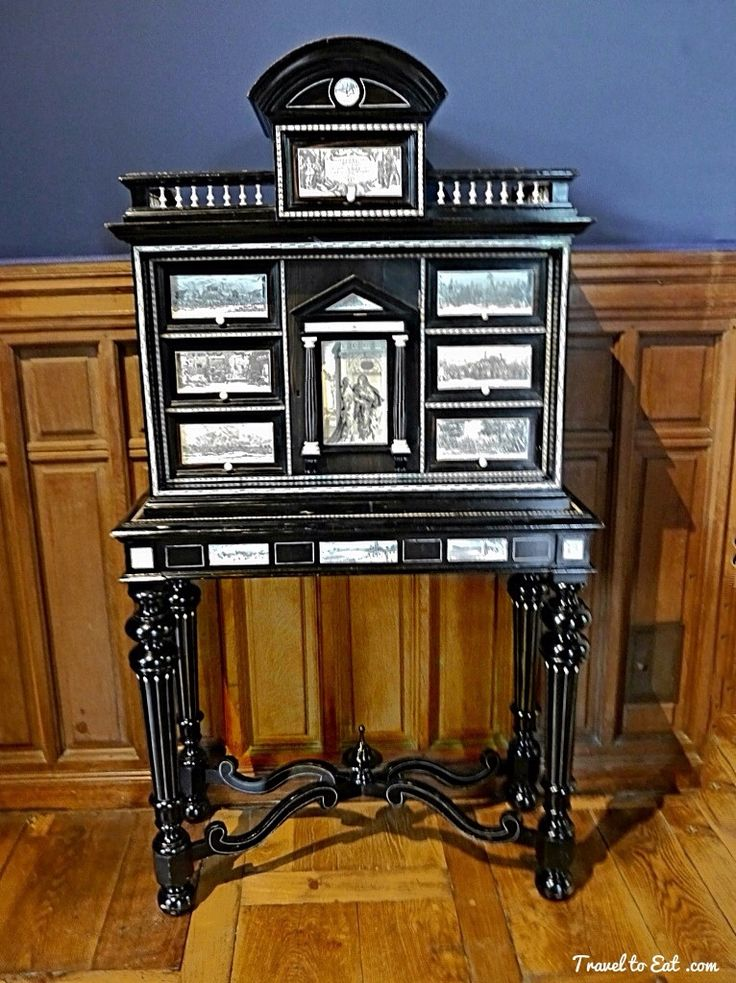 Cabinet with Ivory Engravings based on Jaques Callot 17th Century. Château D'Azay Le Rideau. Loire Valley, France